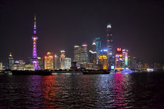 Shanghai skyline night royalty free stock image