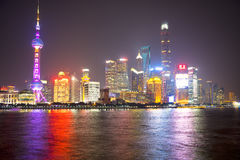 Shanghai skyline night stock images