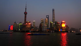 Shanghai skyline night Royalty Free Stock Photos