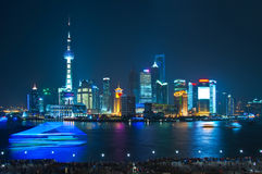 Shanghai skyline by night. With Huangpu river Royalty Free Stock Photos