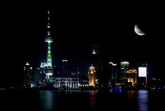 Shanghai skyline by night royalty free stock images