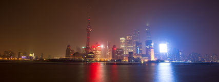 Shanghai Skyline at night Stock Photos