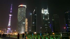 Shanghai Skyline at night in Pudong District, China stock footage