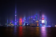 Shanghai Skyline at night. View of Shanghai Pudong Skyline at night stock photos