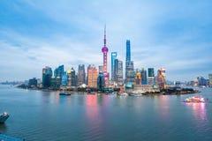 Shanghai skyline in nightfall Royalty Free Stock Image