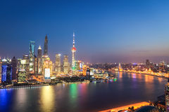 Shanghai skyline in nightfall Stock Images