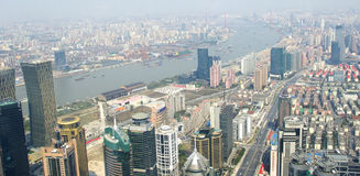 Shanghai skyline overlooking Royalty Free Stock Images