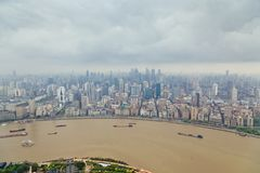 Shanghai skyline panoramic view, Shanghai China,Shanghai skyline panoramic view, Shanghai China. Shanghai skyline panoramic view, Shanghai China royalty free stock photos