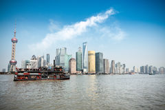 Shanghai skyline and pleasure boat Stock Photography