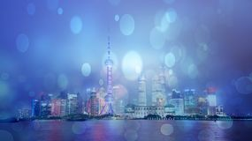 Shanghai skyline in rain, China