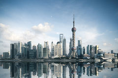 Shanghai skyline with reflection Stock Image