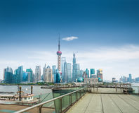 Shanghai skyline and a sightseeing platform Stock Photo