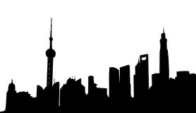 Shanghai skyline. Silhouette in black and white Stock Photography