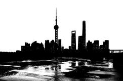 Shanghai Skyline Silhouette Royalty Free Stock Photos