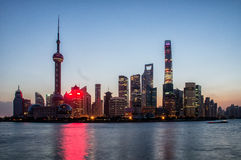 Shanghai Skyline before Sundawn Royalty Free Stock Photo