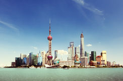 Shanghai skyline in sunny day Royalty Free Stock Photo