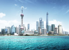 Shanghai skyline in sunny day Stock Photo