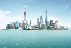Shanghai skyline in sunny day Royalty Free Stock Photos