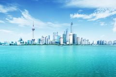 Shanghai skyline in sunny day Stock Images