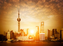 Shanghai skyline at sunrise Stock Photos