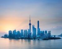 Shanghai skyline in sunrise Royalty Free Stock Photos