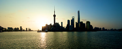 Shanghai skyline sunrise Royalty Free Stock Image