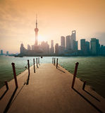 Shanghai skyline at sunrise wharf Royalty Free Stock Photos