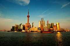 Shanghai skyline at sunset Stock Photos
