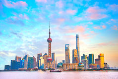 Shanghai skyline at sunset. China. View of Shanghai business center in the beautiful sunset. China stock photos