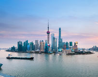 Shanghai skyline with sunset glow Royalty Free Stock Images