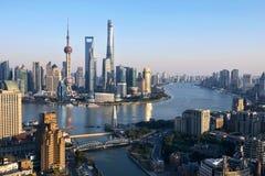 Shanghai Skyline. During the sunset period Stock Photo