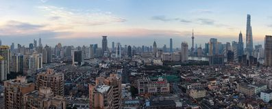 Shanghai Skyline at dusk. Shanghai skyline during the sunset period Stock Photography