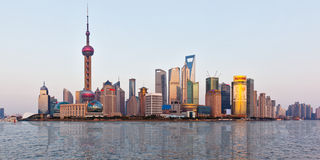Shanghai skyline at sunset with reflection Royalty Free Stock Photography