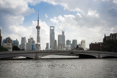Shanghai skyline on the suzhou river Stock Photography