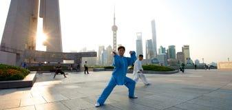 Shanghai skyline Tai Chi Royalty Free Stock Image