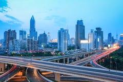 Shanghai skyline with traffic at dusk Royalty Free Stock Image