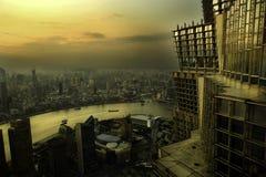 Shanghai-Skyline und -fluß Stockfoto