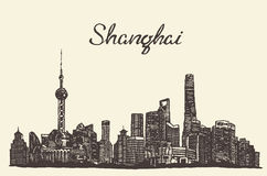 Shanghai skyline vector engraved drawn sketch Royalty Free Stock Photo