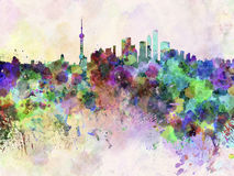 Shanghai skyline in watercolor background. Shanghai skyline in artistic abstract watercolor background stock illustration