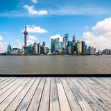 Shanghai skyline with wooden floor Stock Images