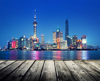 Shanghai skyline and wooden Royalty Free Stock Photo