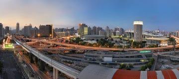 Shanghai Skyline. At Xujiahui area during the dusk period Stock Photography