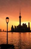 Shanghai-Skylinedämmerung Lizenzfreies Stockbild