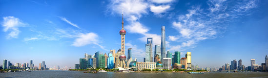 Shanghai-Skylinepanorama Lizenzfreie Stockfotos