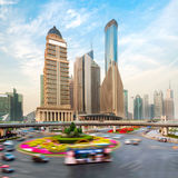 Shanghai skyscraper on the street Stock Photo