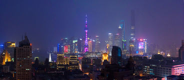 Shanghai skyscrapers at night Royalty Free Stock Image