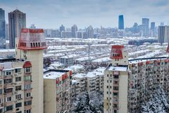 Shanghai snow. China Shanghai has high winter temperatures but not very low temperatures, so it seldom snows. Today, however, the first snow since the beginning Royalty Free Stock Image