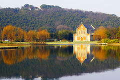 Shanghai Songjiang church and the lake Royalty Free Stock Images