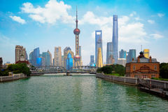 Shanghai stadshorisont Arkivfoton