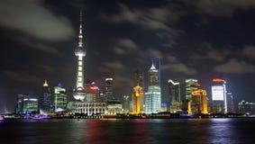 Shanghai stadsmitt av Natt Royaltyfri Fotografi